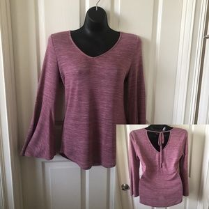 LOFT - Heather Mauve top with bell sleeves